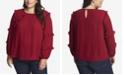 CeCe Women's Plus Long Sleeve Tiered Ruffle Blouse