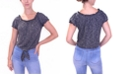 Crave Fame Juniors' Puff-Sleeve Off Shoulder Tie-Front Top