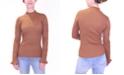 Crave Fame Juniors' Pointelle Mock Neck Sweater