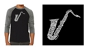 LA Pop Art Sax Men's Raglan Word Art T-shirt