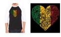 LA Pop Art One Love Heart Men's Raglan Word Art T-shirt