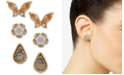 lonna & lilly Gold-Tone 3-Pc. Set Crystal, Stone & Mother-of-Pearl Butterfly & Flower Stud Earrings