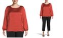 Kasper Plus Size Scoop-Neck Top