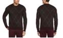 Perry Ellis Men's Plaid Long Sleeve Crew Neck Sweater