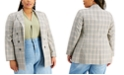Bar III Trendy Plus Size Plaid Open-Front Blazer, Created for Macy's