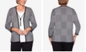 Alfred Dunner Women's Plus Size Knightsbridge Station Houndstooth Patchwork Two-For-One Sweater