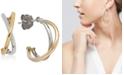 Macy's Two-Tone Crisscross Hoop Earrings in 10k White and Yellow Gold, 1/2 inch