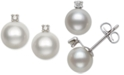 Belle de Mer Children's Cultured Freshwater Pearl (6mm) and Diamond Accent Stud Earrings in 14k White Gold