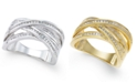 Macy's Diamond Multi-Row Statement Ring (1/2 ct. t.w.) in 14k White or Yellow Gold