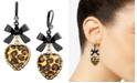 Betsey Johnson Leopard Heart Bow Drop Earrings