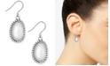 Lucky Brand Silver-Tone Imitation Pearl Oval Drop Earrings