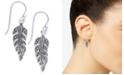 Macy's Marcasite Feather Drop Earrings in Silver-Plate