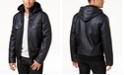 INC International Concepts I.N.C. Men's Faux Leather Hooded Bomber Jacket, Created for Macy's
