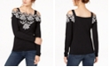 INC International Concepts INC Appliqué Cold-Shoulder Sweater, Created for Macy's