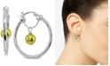 "Giani Bernini Small Two-Tone Bead Hoop Earrings in Sterling Silver & 18k Gold-Plate, 1"", Created for Macy's"
