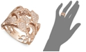 EFFY Collection Pave Rose by EFFY® Diamond Diamond Leaf and Flower Ring (7/8 ct. t.w.) in 14k Rose Gold
