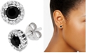 Wrapped in Love Black (1 ct. t.w.) and White Diamond Accent Stud Earrings in 14k White Gold, Created for Macy's
