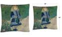 """Baldwin Pierre Renoir A Girl With a Watering Can 16"""" x 16"""" Decorative Throw Pillow"""