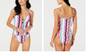 Bar III Waves Printed Molded Cup Tankini Top & Waves Printed Strappy Side Hipster Bottoms, Created for Macy's