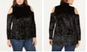 One A Plus Size Crushed Velvet Cold-Shoulder Top