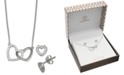 Giani Bernini 2-Pc. Set Cubic Zirconia Heart Pendant Necklace and Matching Stud Earrings in Sterling Silver, Created for Macy's