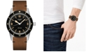Longines Men's Swiss Automatic Skin Diver Brown Leather Strap Watch 42mm