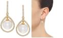 Honora White Cultured Freshwater Pearl (8-1/2 mm) & Diamond (1/3 ct. t.w.) Orbital Drop Earrings in 14k Gold