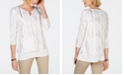 JM Collection Petites Embroidered Ruched Top, Created for Macy's