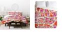 Deny Designs Holli Zollinger Paris Map Pink Twin Duvet Set