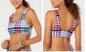 Hula Honey Juniors' Check It Out Printed Bralette Bikini Top, Available in D/DD, Created for Macy's