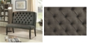 Benzara Tufted High Back 2-Seater Love Seat Bench With Nailhead Trims