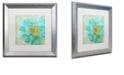 "Trademark Global Color Bakery 'Blue Peony Light' Matted Framed Art, 16"" x 16"""