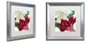 "Trademark Global Color Bakery 'Christmas Amaryllis Ii' Matted Framed Art, 16"" x 16"""