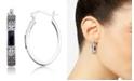 Macy's Onyx (7.5 x 5.3mm) & Marcasite Oval Hoop Earrings in Sterling Silver