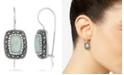 Macy's Jade (9 x 6mm) & Marcasite Rectangle Earrings in Sterling Silver
