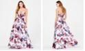 Blondie Nites Juniors' Rose-Print Sweetheart Strapless Gown
