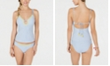 Lucky Brand Keyhole Tankini Top & Shirred Bottoms