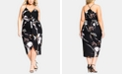 City Chic Trendy Plus Size Twisted Floral-Print Dress