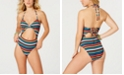 SUNDAZED Lucky Stripes Printed Twist One-Piece Swimsuit, Created For Macy's