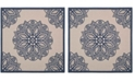 "Safavieh Courtyard Beige and Navy 6'7"" x 6'7"" Sisal Weave Square Area Rug"