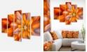 "Design Art Designart Massive Orange Fractal Flower Canvas Art Print - 60"" X 32"" - 5 Panels"