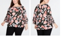 INC International Concepts I.N.C. Plus Size Double-Tiered Peasant Top, Created for Macy's