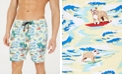 """Club Room Men's Quick-Dry Performance Surfing Dog-Print 7"""" Swim Trunks, Created for Macy's"""