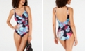 DKNY Printed Ruched-Side One-Piece Swimsuit