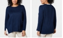 Charter Club Plus Size Colorblocked-Detail Sweater, Created for Macy's
