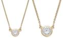 Macy's Bezel-Set Diamond Pendant Necklace (1/5 ct. t.w.) in 14K Gold or White Gold