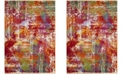 "Safavieh Watercolor Orange and Green 6'7"" x 9' Area Rug"