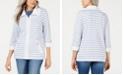 Karen Scott Petite Striped Zip-Front Jacket, Created for Macy's