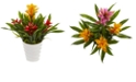 Nearly Natural Bromeliad Artificial Plant in White Vase