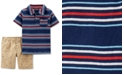Carter's Toddler Boys 2-Pc. Striped Cotton Polo & Shorts Set